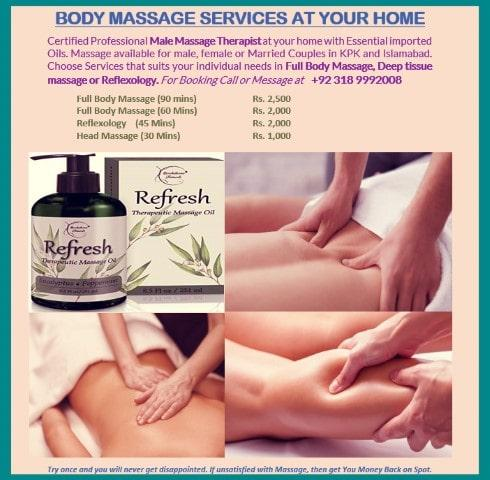 BODY MASSAGE SERVICES AT YOUR HOME - Peshawar
